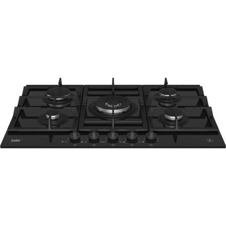 Plita incorporabila Beko HILW75325SDX, Gaz, 5 arzatoare, FlameAdjust™, Arzator wok, Gratare fonta, 75 cm, Dark inox