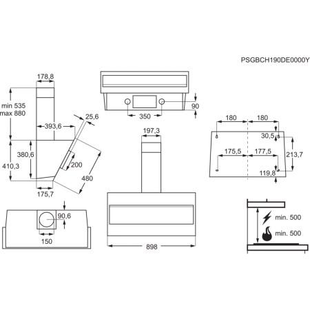 Hota incorporabila decorativa Electrolux LFV319W, Putere de absorbtie 600 mc/h, 1 motor, 90 cm, Alb