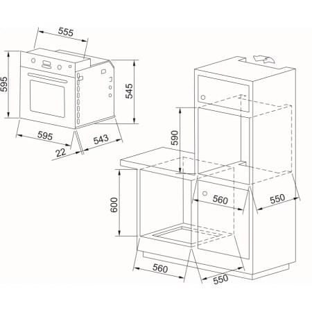 Cuptor incorporabil Dominox DOC 62 M OA, Electric, 68 l, Clasa A, Avena