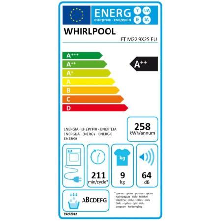 Uscator de rufe Whirlpool FreshCare+ FTM229X2SEU, Pompa de caldura, 9 kg, Clasa A++, Motor Inverter, 6th Sense, Display LCD, Alb