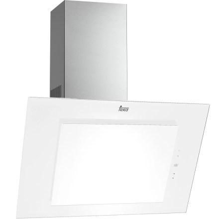 Hota incorporabila decorativa Teka DVT 980 White, Putere de absorbtie 825 mc/h, 1 motor EcoPower, 90 cm, Design vertical, Touch Control, Sistem de iluminare LED, Filtre aluminiu, Timer, Clasa A, Cristal alb