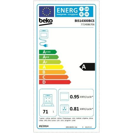 Cuptor incorporabil Beko BIS14300BCS, Electric, 71 l, Clasa A, Gatire asistata cu abur, Grill, Display LED, Inox