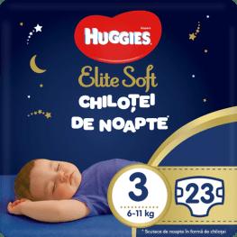 Scutece-chilotel de noapte Huggies Elite Soft Pants Overnight, marimea 3, 23 buc, 6-11 kg