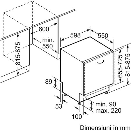 Masina de spalat vase incorporabila Bosch SMV46KX04E, 13 seturi, 6 programe, Clasa A++, 60 cm