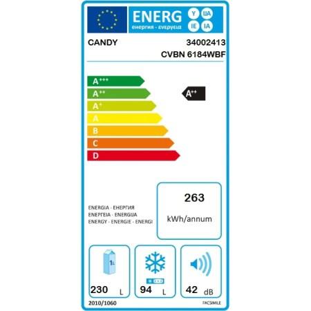 Combina frigorifica Candy CVBN 6184WBF/S, 324 l, Clasa A++, No Frost, H 186 cm, Alb