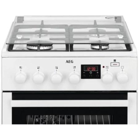 Aragaz AEG CKB56401BW, Mixt, 4 arzatoare, Aprindere electrica plita, PlusSteam, Clasa A, Grill, 50 cm, Alb