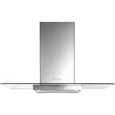 Hota incorporabila decorativa Faber NICE LED SRM X/V A60, Putere de absorbtie 420 mc/h, 1 motor, Iluminare LED, 60 cm, Inox/Sticla
