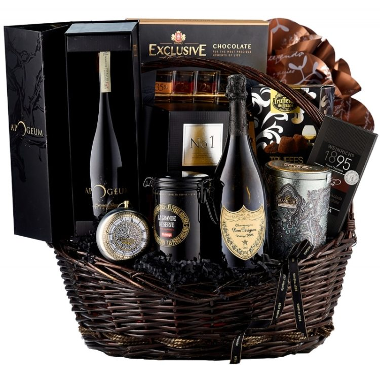 Cos cadou Best Image, Dom Perignon, cu Champagne Dom Perignon, vin rosu Apogeum Valahorum, praline fine, trufe de ciocolata, cafea Malongo si alte produse de lux, cadoul contine 11 articole