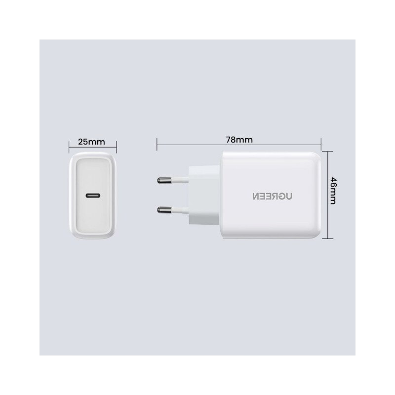 Incarcator Retea Ugreen Fast Charger Cu Port Type-C 45W ,Compatibil Cu iPhone 12 /12 Pro / 12 Pro Max ,Samsung ,Huawei, Alb