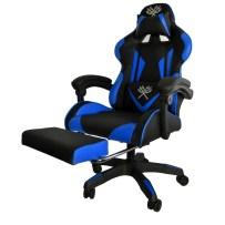 Scaun pentru gaming Iso Trade, Metal/Spuma EPE/Piele ecologica, Negru/Albastru