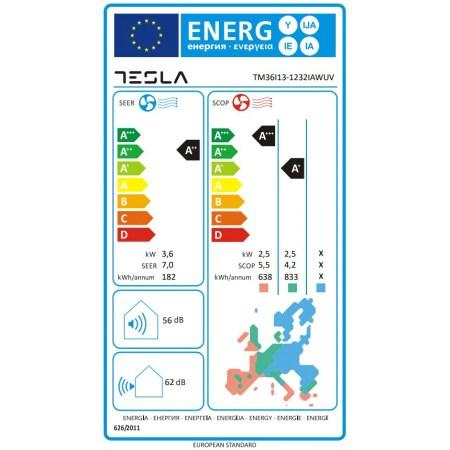 Aparat de aer conditionat Tesla TM36I13-1232IAWUV, 12000 BTU, Clasa A++, Functie incalzire, Functie Turbo, I Feel, Autocuratare, Timer, Filtru lavabil, Carcasa anti-rugina, Inverter, R32, WiFi, UVC lamp