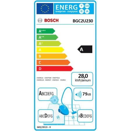Aspirator fara sac Bosch BGC2U230, 700 W, 1.4 l, Cap de aspirare Silent Clean, Filtru Hepa, Rosu
