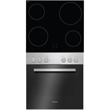 Set cuptor si plita incorporabil Hansa BCCI62061, 62 l, 10 functii, Grill, Steam cleaning, Clasa A, Plita incorporabila, Vitroceramica, 4 zone gatit, Negru