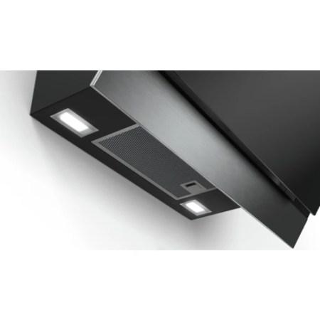 Hota incorporabila decorativa Bosch DWK67HM60, 3 trepte de putere, Putere de absorbtie 660 mc/h, 60 cm, Sticla neagra