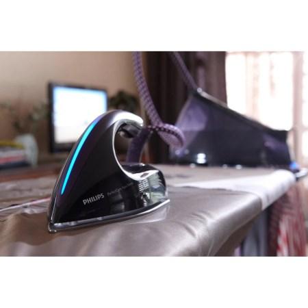 Statie de calcat Philips PerfectCare Aqua Silence GC8650/80, Talpa T-ionicGlide, 2400 W, 2.5 l, 330 g/min, Negru/Mov