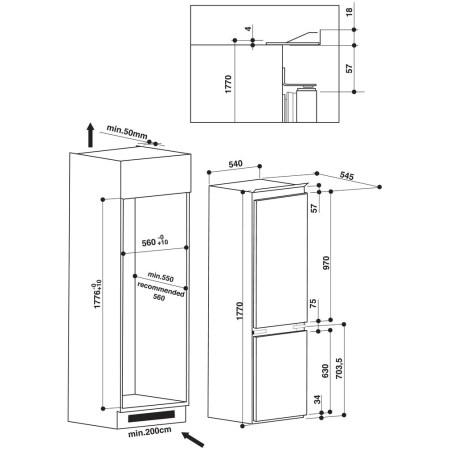 Combina frigorifica incorporabila Whirlpool ART 7811 A+, 275 l, Clasa A+, Less Frost, 6th Sense,, H 177 cm