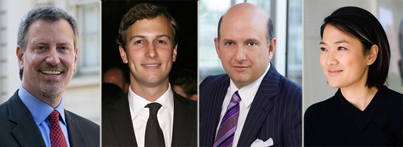 From left: Bill De Blasio, Jared Kushner, Nicholas Schorsch and Zhang Xin