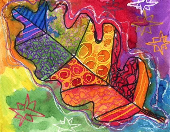 Crayon drawing of a leaf divided and painted different colors and patterns