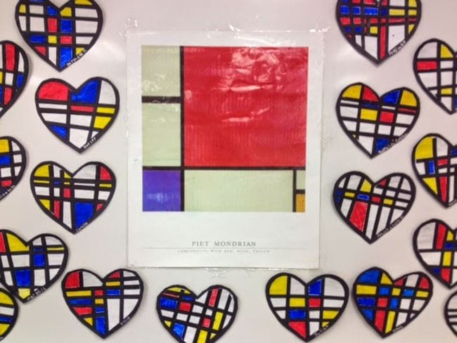 Piet Mondrian squares print surrounded by hearts with a similar pattern (First Grade Art)