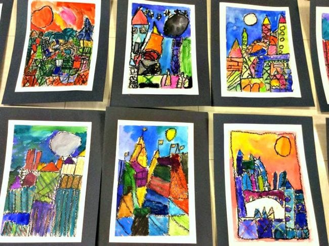 Crayon cityscapes draw in the cubist style of Paul Klee (First Grade Art)