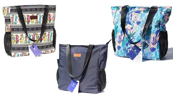 Selection of tote bags in various patterns and colors