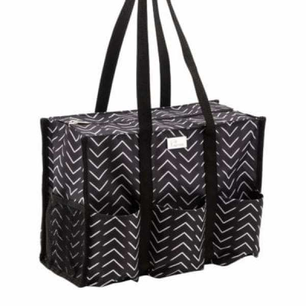 Box-shaped tote bag in a zig zag pattern with multiple outside pockets