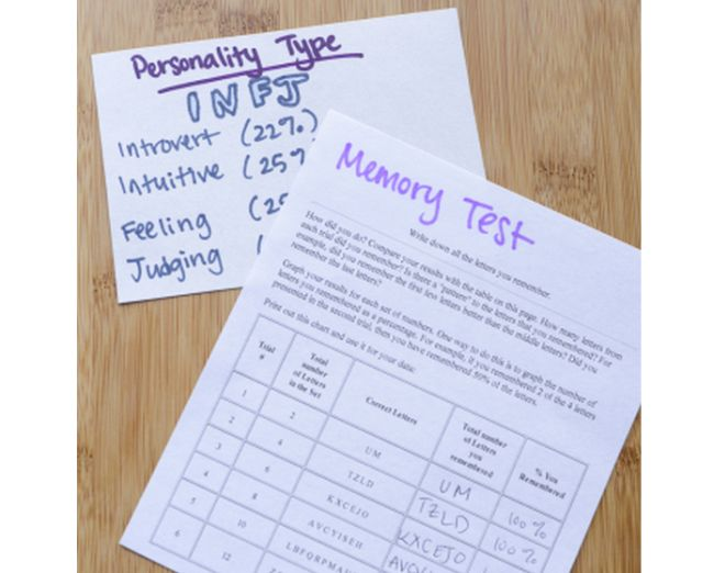 Notecard labeled Personality Type INFJ and worksheet labeled Memory Tests