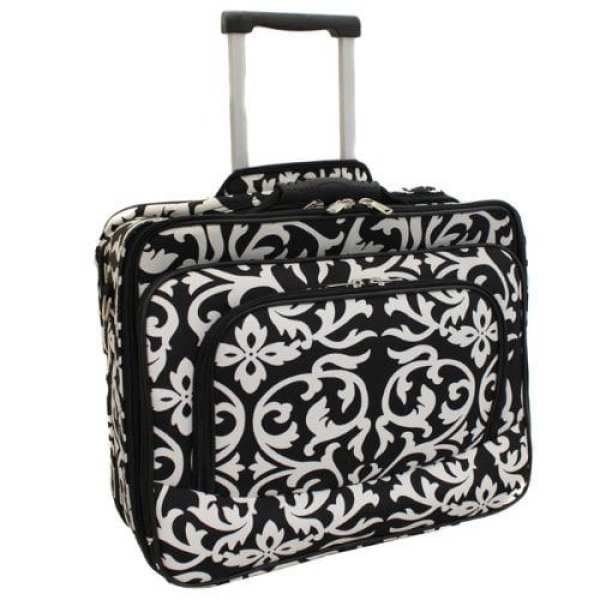Rolling bag with laptop compartment in a black and white damask pattern (Best Teacher Bags)