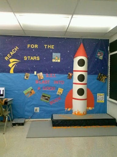 Red and white rocket ship with blue walls space theme for classrooms