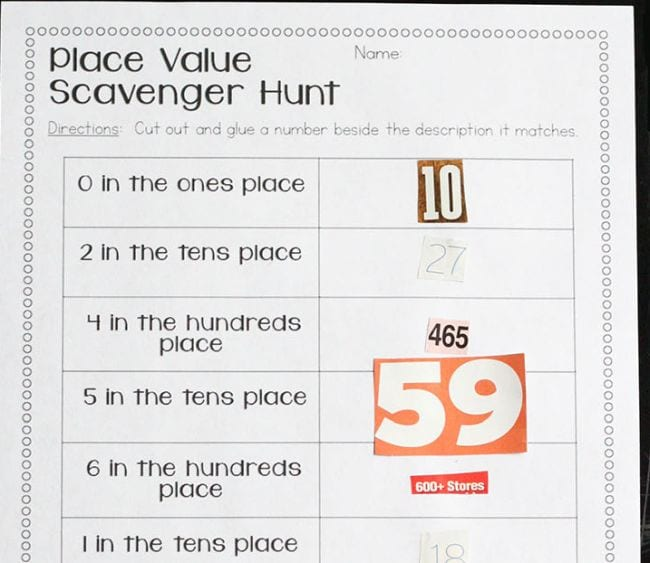 Worksheet labeled Place Value Scavenger Hunt with categories like 0 in the ones place and 2 in the tens place