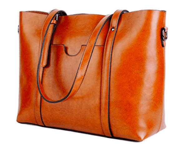 Light brown leather tote bag with front pocket