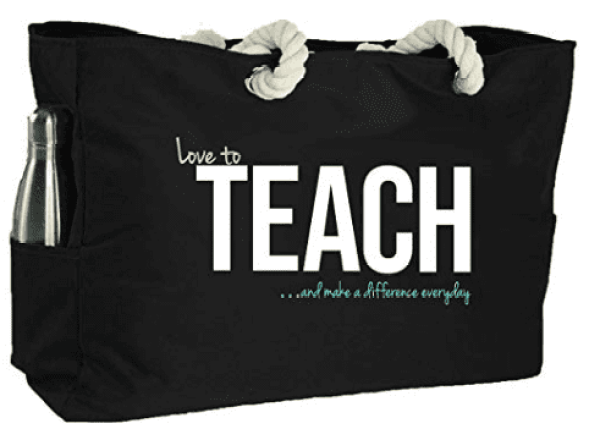 Large black tote bag with rope handles, screen printed with Love to TEACH... and make a difference everyday