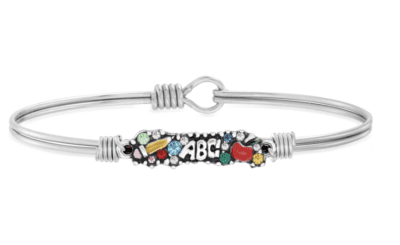 ABC silver teacher bangle bracelet with colored gem stones