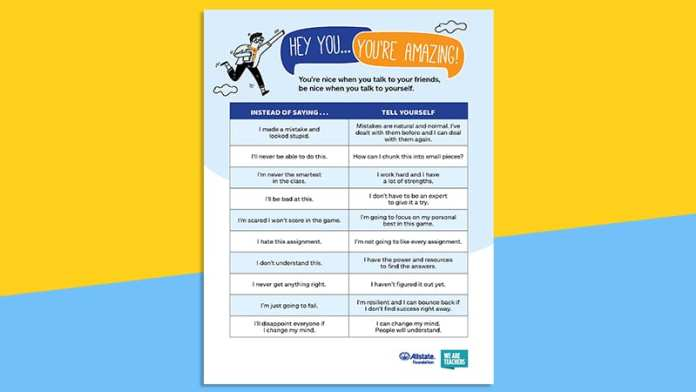 A full look at the positive self talk poster on a yellow and blue background.