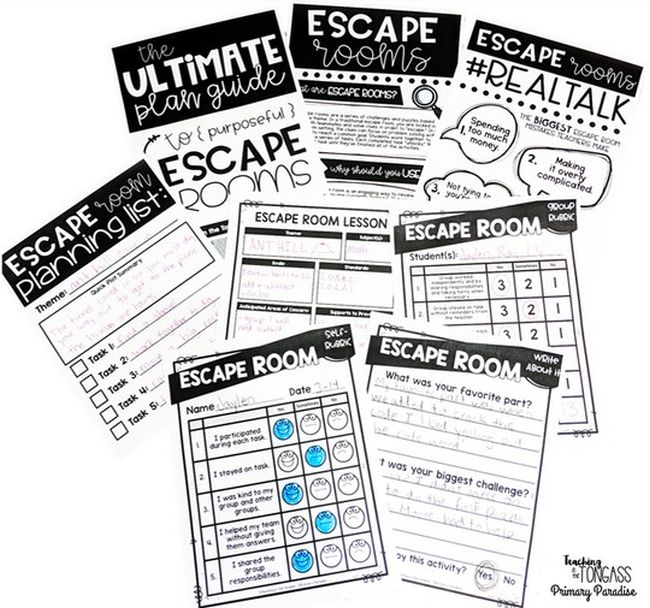 Printable planning worksheets for classroom escape rooms