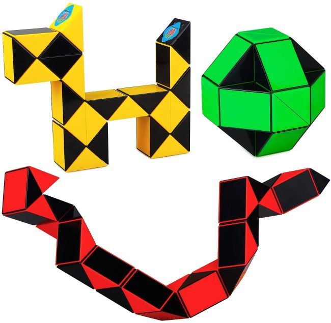Colorful geometric fidget snake toys twisted into different shapes