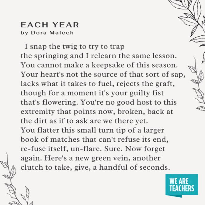 Each year by Dora Malech