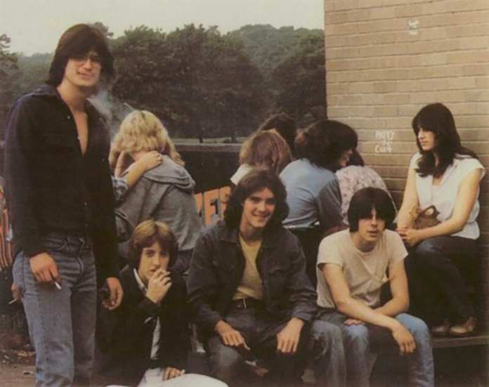 Student smoking area in the 1980's