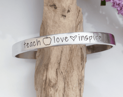 Teach, love, inspire cuff bracelet in silver with apple and heart