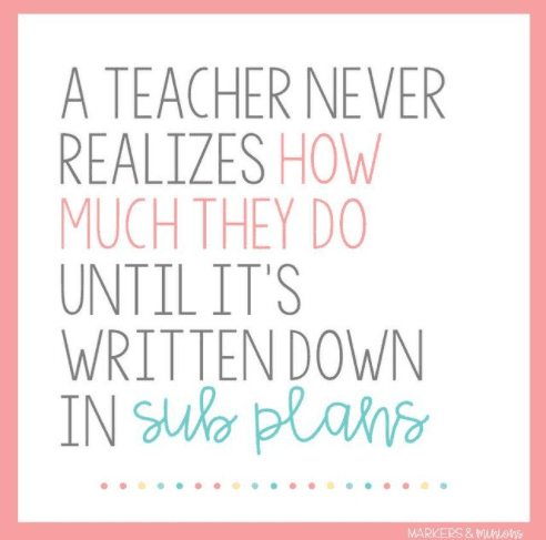 A teacher never realizes how much they do until it's written down in sub plans.