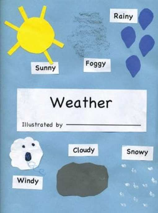a child's weather journal with illustrations of sun, fog, rain, wind, clouds and snow