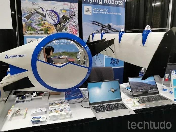 Conceito da Aeronext promete viagem confortável: sensores garantem voo estável — Foto: Aline Batista/TechTudo