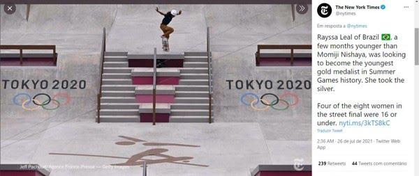 The News York Times fala da medalha olímpica da Fadinha — Foto: Reprodução