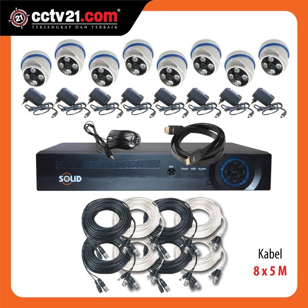 PROMO PAKET CCTV Taiwan SOLID ASLI 2.0MP  8Ch AHD & DVR FULL HD 5 in 1  MADE IN TAIWAN