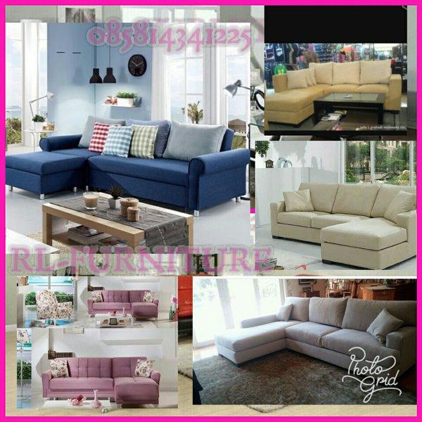 sofa L selonjor minimalis full kain davinci