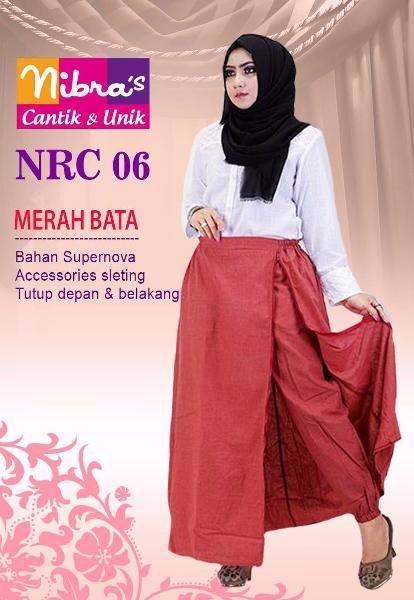 BARU Celana Kulot Muslimah Murah Nibras NRC 06 Merah Bata ORIGINAL Rok Panjang Online