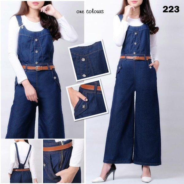 overall jeans kulot denim panjang with inner celana kodok kombrang playsuit werpak jumper longpants kulote