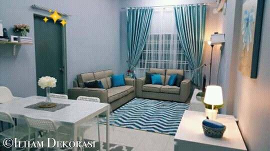 sofa minimalis 321 dan meja kain bludru davinci halus