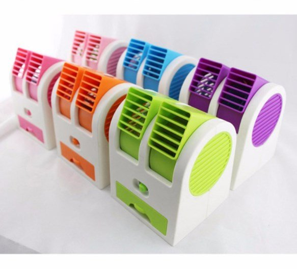 Double Fan Fragrance AC Duduk USB Air Conditioner Kipas Angin Cool Mini Portable Double Window Gen 2