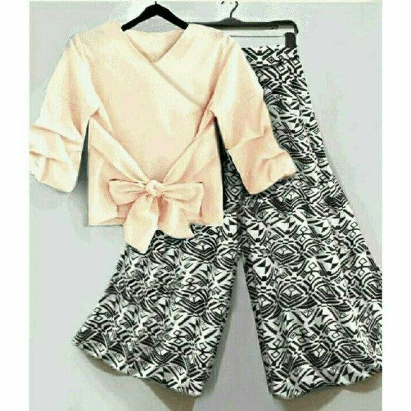 setelan kulot set kulot 2in1 baju setelan muslim cullots fayila navy cream black blouse celana kulot panjang